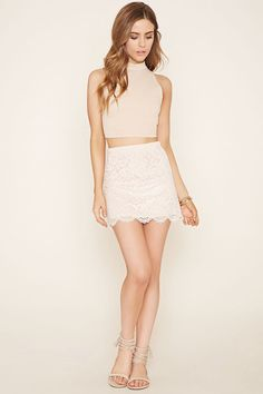 This skirt is crafted from floral lace with a scalloped hem and an elasticized waist. Matching top available. Frock Fashion, Girl Fashion, Fashion Outfits, Elite Model Look, Little Girl Models, Look 2018, Girls In Mini Skirts, Good Looking Women, Chiffon Evening Dresses