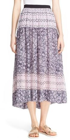 I love this patterned midi skirt. Rebecca Taylor Mixed Print Silk & Cotton Skirt