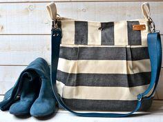 Waterproof Black BEST SELLER Diaper bag/Messenger bag STOCKHOLM  nautical stripe bag 10 Pockets - denim taurillon blue strap on Etsy, $118.41