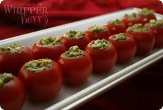 mozzarella and pesto stuffed tomatoes