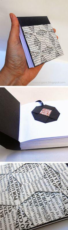 origami - libreta con detalle de origami quilt y señalador de origami