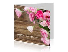#Moderne #rouwkaart met #mooie #roze #rozen en op de #achtergrond #houtenplanken >>> Bij alle #ontwerpen kunt u uw #eigenfoto toevoegen, kleuren en lettertypen #aanpassen, tekstblokjes en clipart toevoegen.