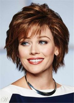 Without Consequence Wig by Raquel Welch Wigs - Human Hair Lace Front Mono Top Wig - May 19 2019 at Short Hair With Bangs, Short Hair With Layers, Short Hair Cuts, Choppy Layers, Hairstyles For Round Faces, Hairstyles With Bangs, Straight Hairstyles, Medium Hairstyle, Layered Pixie Cut