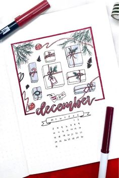 30 best DECEMBER monthly cover ideas to add some festive vibes to your bullet journal! Bullet Journal Aesthetic, Bullet Journal Art, Bullet Journal Ideas Pages, Bullet Journal Spread, Bullet Journal Inspiration, Bullet Journals, Christmas Doodles, Christmas Cards To Make, Bullet Journal Weight Loss Tracker