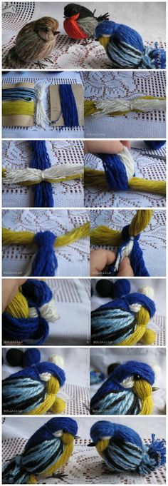 DIY Cute Yarn Titmouse & Sparrows---- i think the realist ones are a little creepy but the blue one is cute :) #LOL