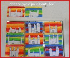 château sur fond de peinture Castles Topic, Chateau Moyen Age, Castle Crafts, Renaissance Time, Kindergarten Art Projects, Expressive Art, Art Lessons Elementary, Classroom Fun, Elements Of Art