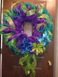 Hey, I found this really awesome Etsy listing at https://www.etsy.com/listing/169890793/peacock-deco-mesh-wreath