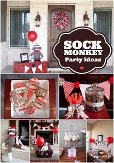 Boy's Sock Monkey Birthday Party Ideas