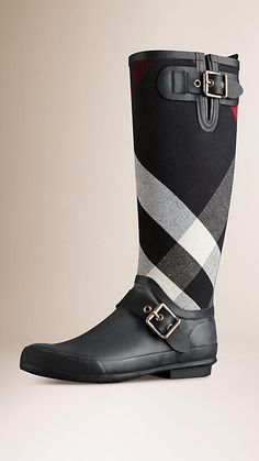 Navy Canvas Check Detail Rain Boots - Image 1 - BURBERRY