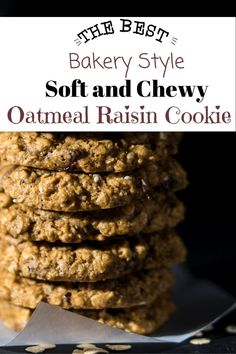 This is my favorite recipe for fast and easy oatmeal raisin cookies. They bake up soft and chewy every time. They are even healthy enough f. Oatmeal Rasin Cookie Recipe, Quaker Oatmeal Raisin Cookies, Soft Oatmeal Cookies, Bakery Recipes, Cookie Recipes, My Favorite Food, Favorite Recipes, Best Oatmeal, Yummy Cookies