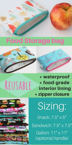 Zero Waste Bags - Food Storage Bag - BPA Free Bag - Eco Friendly Bag - Zipper Pouch - Back to School Supplies - Available in Three Sizes #ecofriendly #Affiliate