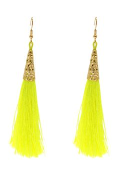 Neon yellow tassel earrings only thirty nine dollars find them here - http://www.stylehunter.com.au/eboutique/eboutique-product?product=happy-hour-earrings=4806#