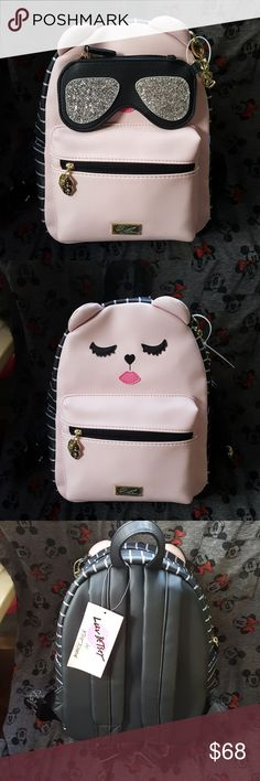 Betsey Johnson backpack Adorable Betsey Johnson kitty back pack with magnetic eyeglass coin purse.   Approx 9 x 11 x 5.  So stinking cute! Betsey Johnson Bags Backpacks