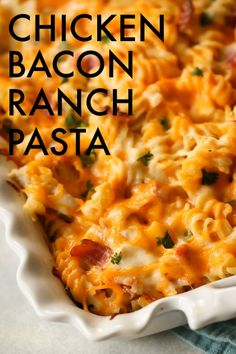 Do you love a cheesy and easy pasta dish like we do? This chicken bacon ranch pasta is a family favorite your kids will love. So simple and easy to make. Casserole Recipes, Pasta Recipes, Cooking Recipes, Dinner Recipes, Pasta Meals, Dinner Ideas, Noodle Recipes, Meal Recipes, Easy Cooking