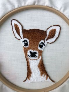 Phoebe the Fawn Punch Needle Kit Diy Embroidery Patterns, Fabric Patterns, Hand Embroidery, Print Patterns, Punch Needle Kits, Punch Needle Patterns, Kids Punch, Weavers Cloth, Penny Rugs