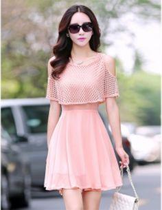 Đầm voan đắp lưới màu hồng - A6389 Frock Fashion, Korean Fashion Dress, Indian Fashion Dresses, Girls Fashion Clothes, Teen Fashion Outfits, Skirt Fashion, Stylish Outfits, Cute Casual Outfits, Cute Fashion