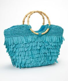 This Turquoise Fringe Tote by Straw Studios is perfect! #zulilyfinds
