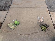 Zinn, ilustración callejera de tiza y carbón - Knowmadesign