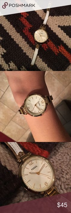 Fossil Women's Gold Watch Gold and white fossil watch. Fossil Accessories Watches