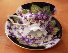 bavarian tea cups and saucers | ... MITTERTEICH BAVARIA GERMANY TEA CUP AND SAUCER SET, PURPLE FLORAL