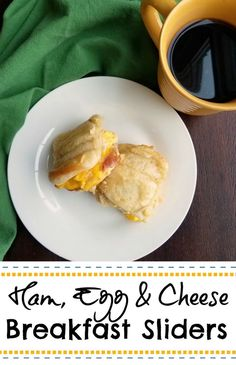 This is a great way to make a tray full of little breakfast sandwiches all at once. They are full of ham, eggs and melty cheese and the tops are golden and buttery. YUM! #breakfast #brunch #recipe #food