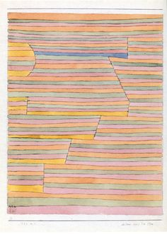 """Paul Klee - """"Die Sonne streift die Ebene"""", ( Le soleil effleure la plaine), 1929, aquarelle et crayon/ papier/carton, 31,5x24,9. Berne, Zentrum ."""