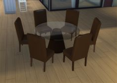 Mod The Sims - Modern 6-Seater and 8-Seater Round Dining Table and Chair Set - TS4