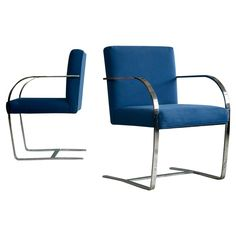Pair of Brno Style Side Chairs in the Manner of Mies Van Der Rohe   From a unique collection of antique and modern side chairs at https://www.1stdibs.com/furniture/seating/side-chairs/