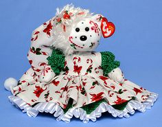 Candy Canes & Holly, Tina Tate custom dressed and decorated Ty Beanie Baby reference information and photos. Ty Bears, Christmas Teddy Bear, Candy Canes, Beanie, Christmas Ornaments, Holiday Decor, Baby, Christmas Jewelry, Beanies