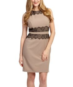 Look what I found on #zulily! Beige & Black Lace Sleeveless Sheath Dress - Women #zulilyfinds