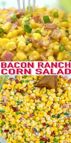 Bacon Ranch Corn Salad is crunchy, creamy, sweet, sour, and savory all at the same time! Make this quick side dish for your cookouts this summer! #cornsalad #saladrecipes #summerrecipes #sweetandsavorymeals #videopin