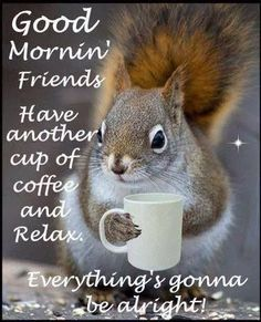 Good Morning Quotes : Bright Eyed & Bushy Tailed Coffee Loving Squirrel - Quotes Sayings Good Morning Friends, Good Morning Good Night, Good Morning Wishes, Good Morning Quotes, Morning Morning, Good Morning Coffee, Wednesday Morning, Coffee Humor, Coffee Quotes