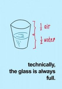 1/2 Air, 1/2 Water - Technically, the glass is always full :)