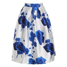 Rose Print Flare Skirt (31 CAD) ❤ liked on Polyvore featuring skirts, circle skirt, flared skirt and skater skirt