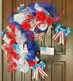 4th of July mattress springs wreath