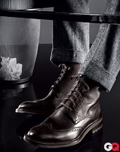 mildly obsessed with this look for guys...military inspired boots with a dark, winter fabric suit...my love for Boardwalk Empire's wardrobe continues