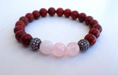 Rose Quartz bracelet Red Jasper bracelet Fertility bracelet.