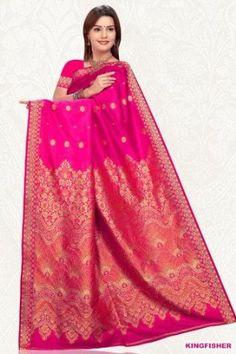 Hot Pink Art Silk Saree