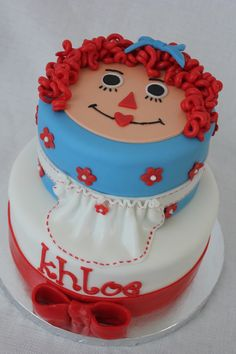 Raggedy Ann, a vintage favorite - by Cake Occasion 36th Birthday, Birthday Cake Girls, Birthday Cakes, Fancy Desserts, Fancy Cakes, Beautiful Cakes, Amazing Cakes, Cartoon Cakes, Cupcake Cakes