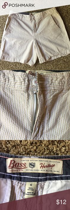 "Heritage Taupe Vertical Stripe Shorts 15"" waist and 5.5"" inseam. 100% cotton Shorts"