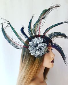 Excited to share this item from my shop: Black peacock fascinator black purple floral fascinator unique headpieces grey flower fascinator headpiece unique headpiece,fascinator Floral Fascinators, Leopard Print Fabric, Black Fascinator, Circular Pattern, Grey Flowers, Peacock Feathers, Headpieces, Printing On Fabric, Fashion Beauty