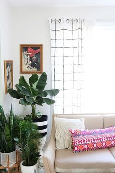 Painted Grid Curtains - 7 DIY Project Ideas for Your Weekend » Curbly | DIY Design Community