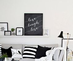 Live Laugh Love - Wall Decor, Inspirational quote art by OnlyPrintableArts This Is Your Life, Love Wall, Sofa, Couch, Scandinavian Style, White Walls, Minimalism, Wall Decor, Throw Pillows