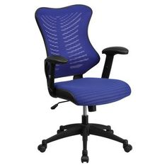 Flash Furniture High-Back Blue Designer Mesh Executive Swivel Office Chair with Mesh Padded Seat