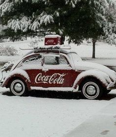 This photo depicts several of my loves(close enough, anyway); snow, skiing, snow-skiing, evergreens, old V.W. Bugs & Coca Cola products, Diet Coke w/lime for me please. Fantastic picture. *I do have another VW picture on my Pets & Non 98*Creature Board, that's very unique.