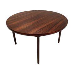 Mid Century Danish Rosewood Large Circular Extending Dining Table 1960s