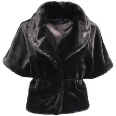 Faux fur jacket ($96) ❤ liked on Polyvore featuring outerwear, jackets, short-sleeve jackets, fake fur jacket, short sleeve bolero, faux fur bolero and short sleeve jacket