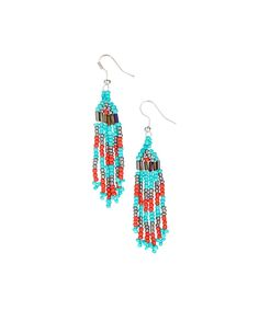 Turquoise & Red Coral Beaded Drop Earrings