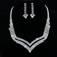 Rhinestone Geometry Statement Necklace and Long Dangle Earrings Sale: $5.29