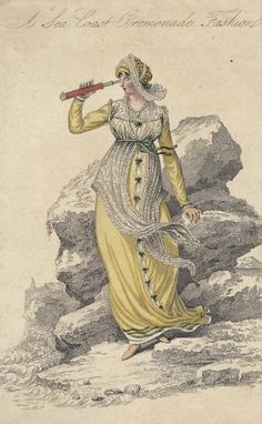Seaside promenade dress, 1809 England, La Belle Assemblée